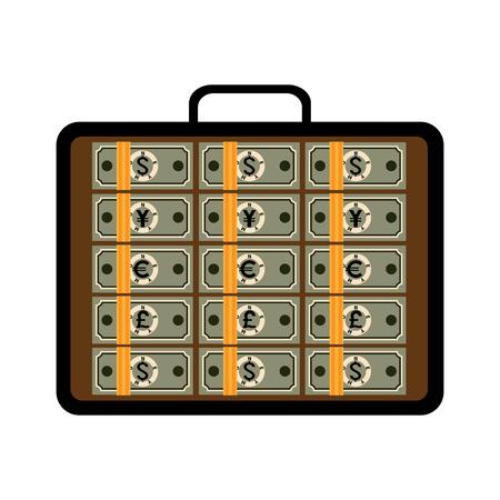 Valigia piena di soldi. Valigetta aperta con mazzi di dollari, euro, yen giapponesi, sterline. Illustrazione vettoriale di affari di successo finanziario, investimento, capitale, ricchezza, opportunità di business.