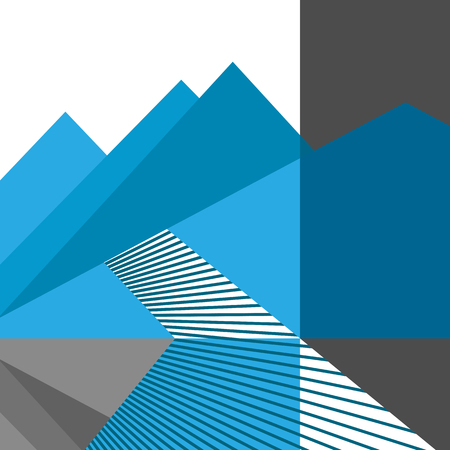 Linear geometric vector flat illustration. Abstract mountains and road. Metaphor of the way to the goal. Trendy concept for catalogs, information, travel, shop, website, app, UI, social media.
