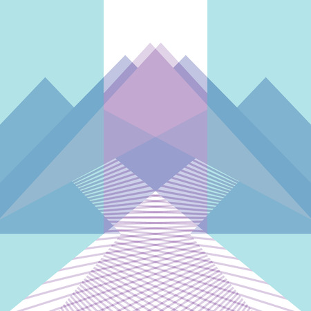 Linear geometric composition. Abstract mountains and roads. Metaphor of choosing the path to the goal. Vector flat illustration. Trendy concept for catalogs, information, travel, shop, website, app.
