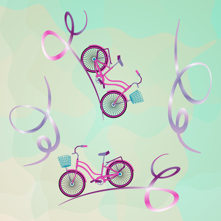 Two bicycles go down the abstract mountain serpentine. Single bikes with front wicker baskets. Trendy concept for catalogs, information, travel, website design, app, social media. Vector illustration