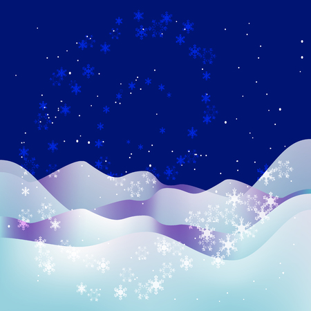 Trendy Christmas and New Year blue background. Xmas night. Snow, snowflakes, stars and snowdrifts. Abstract Christmas background with winter landscape and snowflakes. Vector illustration.