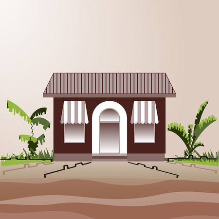 One-storey building. Village shop or cafe next to the road and bushes. Colorful house and country landscape. Vector flat style. Trendy symbol concept for catalogs, information, shop, cafe, website.