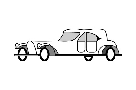 Isolated aristocratic retro car 20s of the twentieth century. Side view. Trendy concept of symbols for infographics, catalogs, information, travel, website, flyer. Vector monochrome flat illustration.