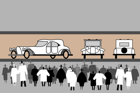 People crowd stand at an aristocratic retro cars exhibition. Vintage elegant car. Front, rear, side view. Black and white human silhouettes. The crowd is at a retro car show. Vector flat illustration.