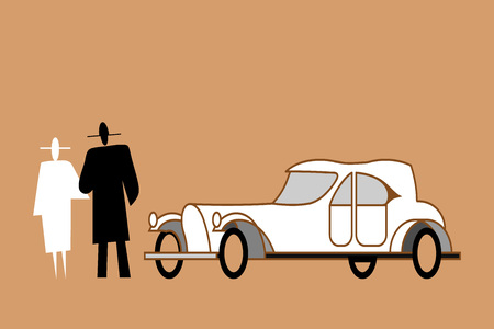 Couple stands next to an aristocratic old style car. Classic retro car of the 20s of the twentieth century. Man and woman are standing next to the vintage car. Vector flat illustration of cabriolet.