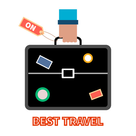 Tourist with suitcase. Travel briefcase with stickers in man's hand. Countrys and citys labels. Vector flat illustration. Concept for infographic, business, catalogs, information, travel, website.