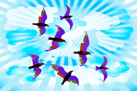 Flying birds in the sky. White and blue color of the sky with clouds and rays. Birds with colorful plumage. Abstract background. Concept for catalogs, information, ecosystem materials, travel guides
