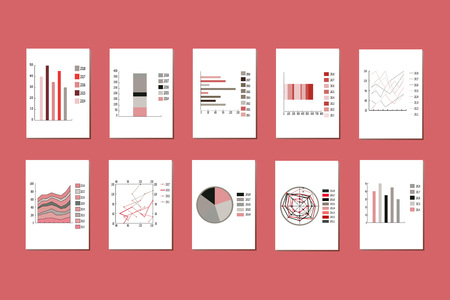 Vector set of various graphs, charts, pie charts, diagrams for business, infographic. Diagram pie, chart symbols, different statistic parameters, charts percentage. A chart column with different color