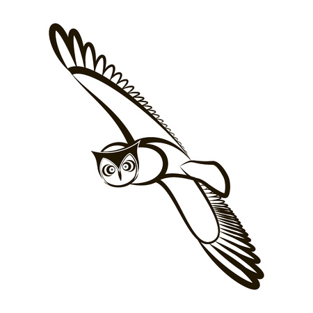 Flying owl with open wings. Black and white plumage. Hand drawn vector illustration. Abstract owl with feathers. For design of t-shirt, bag, tattoo, coloring, print, postcard, poster, stamping. Illustration