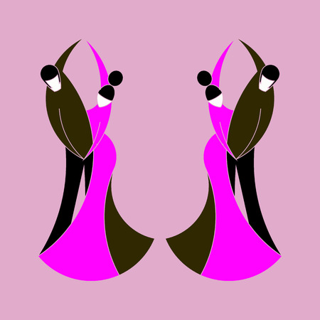 Two couples dancing classical dance. Silhouettes of dancing men with women. Stylized dancing couples in full growth on a lilac background. Overall plan. Vector symbol of dance. Classical pair dances. Flat style.