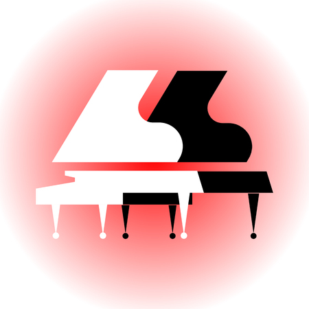 Musical instruments. Symbol of classical music on a light red background. Composition with silhouettes of two grand pianos. Stylized black and white grand pianos. Overall plan. Vector flat logo. For music lessons, concerts, music store.