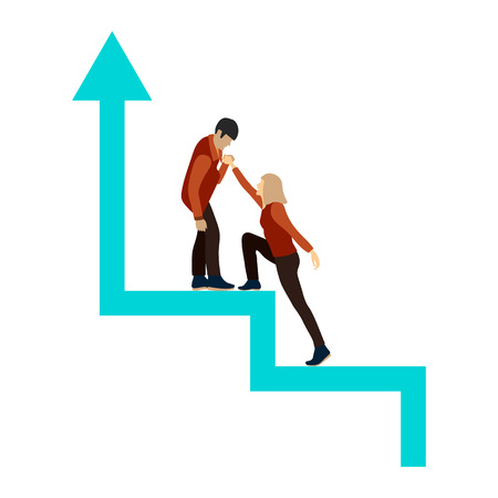 Man and woman in full growth on the success stairs. Stylized career ladder. Guy helps girl to climb up. Man extends woman a helping hand. Symbol of friendship, help, career growth, motivation. Vector flat concept of people going to success.