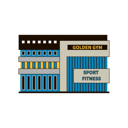 Modern gym building. Facade close-up. The concept of building a sports club for sports and bodybuilding. Sports theme. Designs for athletics, gymnastics, sports training. Exterior of the gym building