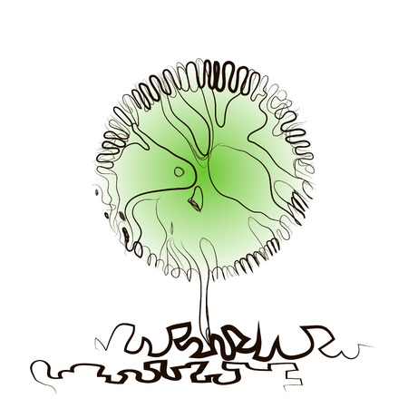 Fantasy abstract tree. Hand drawing of a tree with a round crown. Vector illustration on white background. Theme of ecology, nature. For header images, websites, banners, covers. Isolated. Copyspace