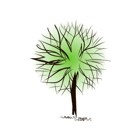 Creative tree. Fantasy round crown. Sketchy black contour of foliage. Hand drawing isolated. Vector symbol of ecology and nature. Concept for headers, images, sites, banners, covers. Copyspace Ilustracja