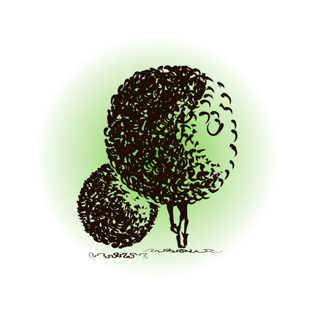 Two fantasy trees. Architectural style. Creative trees with round crowns for background design. Hand drawn design, doodle. Concept for various images design of nature, urban and suburban landscapes