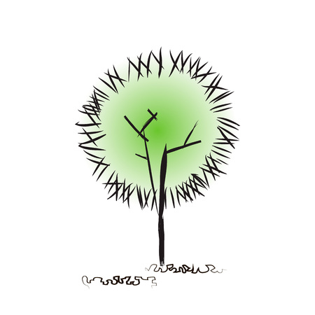 Modern trendy style natural background design. Creative tree. Hand drawing. Doodle crown, twig, foliage. Architectural concept for nature imaging, urban development, urban and rural landscapes. Ilustracja