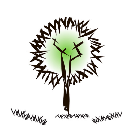 Stylized tree. Abstract trunk, crown, branches, grass. Hand drawn doodle. Architectural concept for design background. Theme of urban and rural landscapes, nature, ecology. Vector illustration tree