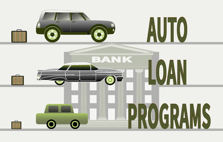 Composition with cars, briefcases, bank building. Three different cars on a bank background. Open briefcases with banknotes bundles are next to the cars. Concept of buying a car and car loan programs.