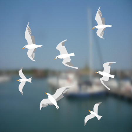 Blurred blue sea background. Fuzzy silhouettes of several yachts. Flying seagulls flock close-up. White birds over blue sea. Concept of the sea and seabirds. Stylish vector design for nautical themes. Ilustração