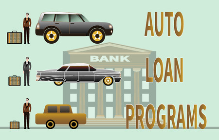 Concept of getting a car loan and buying a car. Car loan approved and received. Three young men are standing next to cars. Money received is in briefcases. Vector illustration on a bank background.