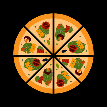 Pizza with mushrooms, vegetables, cheese and meat. Italian pizza cut into pieces. Traditional Italian fast food. Close-up. Vector flat style for pizzerias, restaurants, cafes, parties, banner, poster Ilustracja