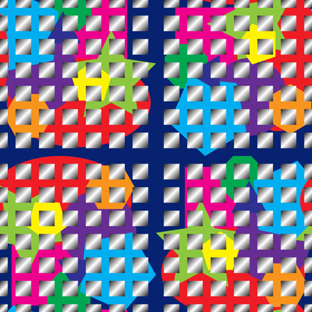 Seamless multicolored grid. Vector texture with gradient squares. All colors of the rainbow. Red, orange, yellow, green, sky blue, blue, purple colors. Design for fabric, background banners decor