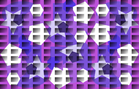 Abstract monochromatic pattern. Irregular polygons, gradient rectangles. Vector illustration. White, blue, purple, purple tones. Design style for banners presentations covers cards posters