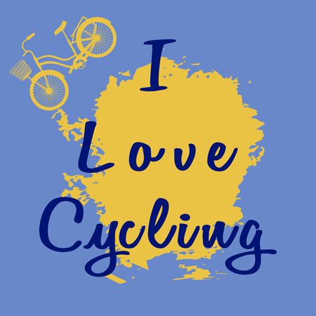 Yellow bike with a basket. Blue inscription - I Love Cycling. Text on pear color spot. Vector illustration on blue gray background. Trend flat style. Theme for followers of snappy healthy lifestyle.