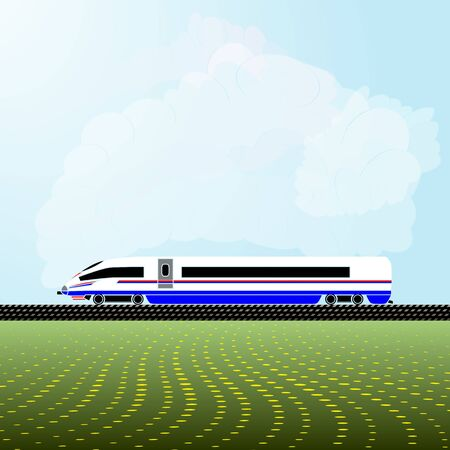 Realistic vector illustration of the locomotive of a modern high-speed train. Background - a light blue sky with white clouds and abstract flowering meadows. Side view. Stock Illustratie