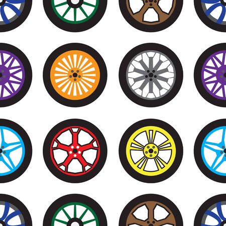 Seamless pattern. Different colored wheels. Creative transport background. Design theme for cars, any transports, technical ads, tire fitting, tire change, car service. Vector flat illustration. Vettoriali