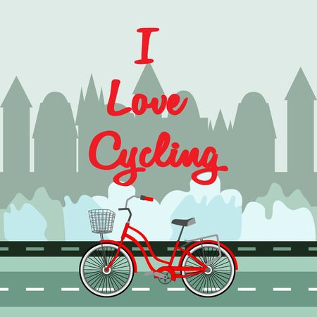 Red bike with a basket. Close-up on city silhouette background. Top text - I Love Cycling. Theme of a healthy lifestyle, sport, outdoor activity refers, trip. Idea for postcards, posters, travel.