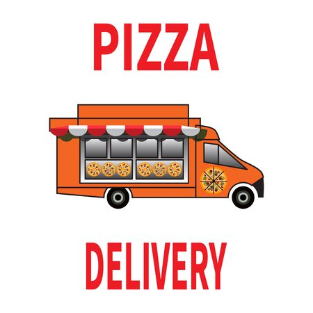 Pizza delivery car. Pizza truck with a showcase. Sunshede above the shop window. Vector illustration on white background. Design for web, site, advertising, banner, poster, board and print.