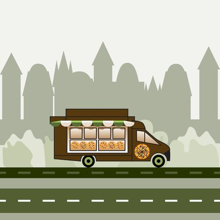 Pizza truck driving on highway. Vector illustration of pizza wagon. Delivery service on urban background. Pizza image on the car side. Design for web, site, advertising, banner, poster, board, print.