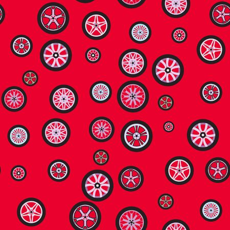 Seamless background. Wheels isolated on a red background. Techno pattern. Texture with different wheels. Theme design for cars and any vehicles, auto service. Flat style. EPS 10 vector illustration.