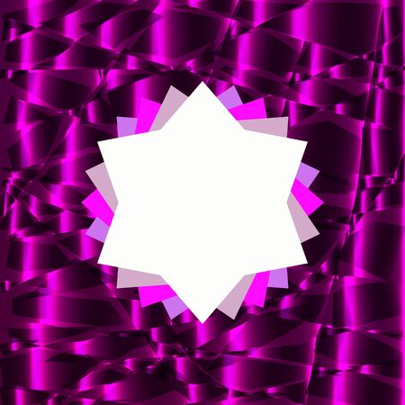 Rosette symbol on top with place for text. Bright purple abstract background from behind. Luxurious design for websites, presentations, booklets, invitations, cards, flyers. Vector illustration EPS 10