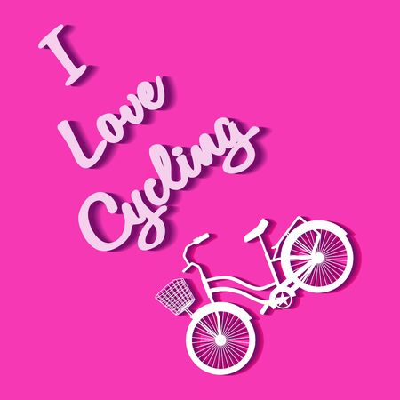City bike with basket and text - I Love Cycling. Vector illustration in trendy flat style. Image and lettering for poster or cover. Theme of cycling for bike fans. Concept on a pink background.