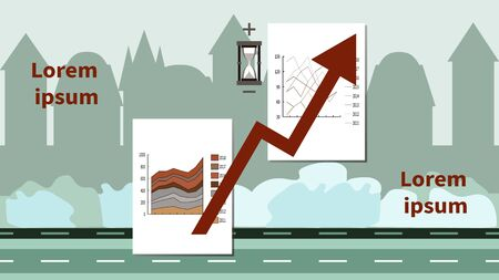Graph, chart, growth arrow. Hourglass with plus and minus signs. City buildings silhouettes. Vector flat illustration on city background. Business concept for building investment, finance, economy.
