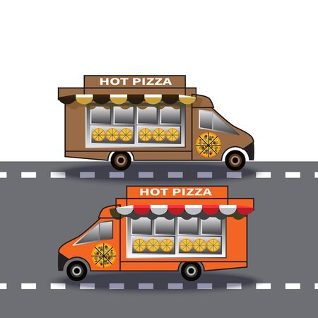 Two pizza delivery trucks on the highway. Food delivery vehicles driving in opposite directions. Street food delivery vehicle. Art design for web, site, advertising, banners, posters, boards, printing