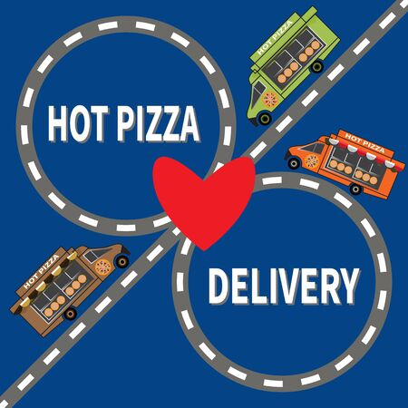 Several food delivery trucks drive on highway. Inscription - Hot Pizza Delivery. Red heart in center. Vector illustration on blue background. Design for web, site, advertising, banner, poster, print. Ilustracja