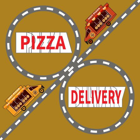 Two pizza delivery trucks drive down the highway. Text - Pizza Delivery. Pizza delivery service to the client. Art design for web, site, advertising, banners, posters, boards and printing. Ilustracja