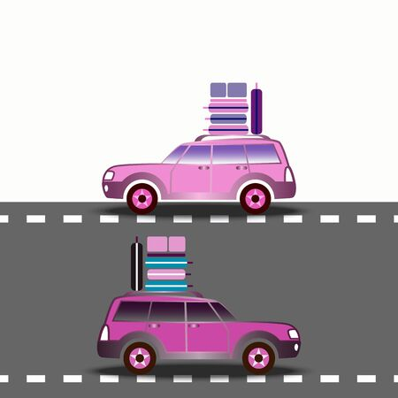 Two cars driving on the highway. Suitcases on the cars roof. Travel by cars. Auto travel concept. Travel and vacation theme. Idea design for tourism, catalogs, site. Vector illustration. Ilustracja