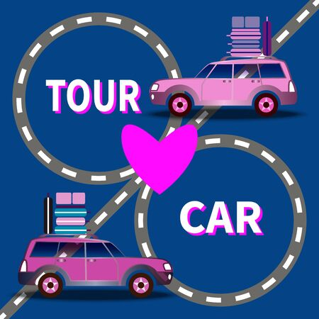 Two loaded cars driving on the highway. Suitcases on top. Inscription - Tour Car. Heart in the center of roads on blue background. Vacation planning, tourism, leisure theme. Concept for marketing, ads