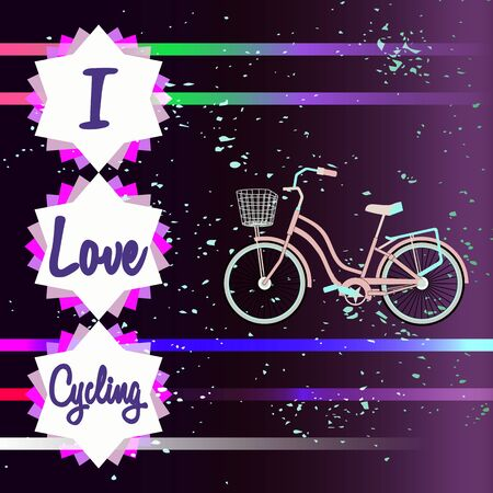 Bicycle silhouette. Lettering - I Love Cycling. Multicolored fantasy background with particles and stripes. Theme of hanging out with the bike. Decor for bike lovers. Idea for a bike poster.