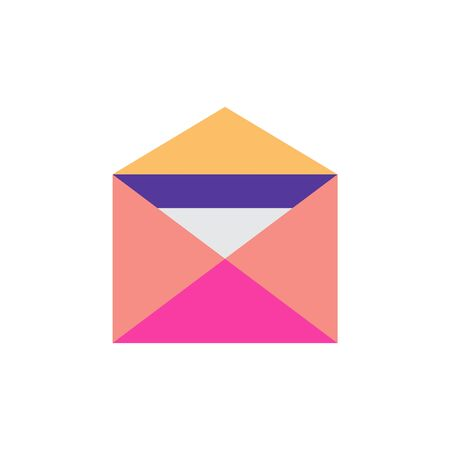 Open envelope. Paper document in an envelope. Delivery of correspondence or office documents. Vector illustration on a white background. Mail symbol for web design, mobile applications, user interface Ilustracja
