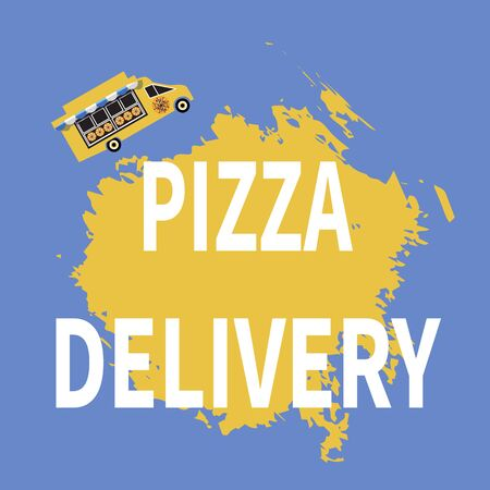 Pizza truck with sunshade over a shop window. Vector pizza wagon. Delivery service on a blue background. Flat illustration. Theme for web, site, advertisement, banner, poster, blackboard and print.