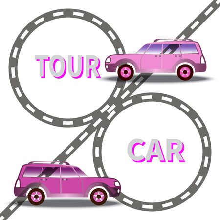 Two cars on highway background. Traveling by car on vacation. Trip around the world. Text - Tour Car. Design for tourism, catalogs, website, marketing, ads, advertising. Vector illustration. EPS10 Ilustracja