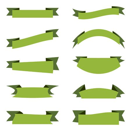 Vector collection of green ribbons banners. Flat design isolated on white background. Place for your text. Ribbons for business and design. Design elements. Ribbons and banners for decoration, cards. Ilustracja