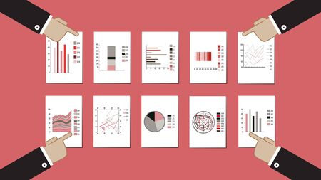 Four businessmen discuss various statistics. Their hands point at statistical graphs, charts. Vector flat illustration on pink background. Idea for business or financial presentation, economy report.