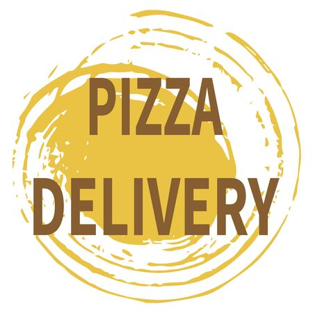Pizza delivery to the customer. Vector illustration on an abstract yellow background. Text - Pizza Delivery. Idea for advertising pizza delivery service, ads vector logo. Trendy flat style. Stock Illustratie